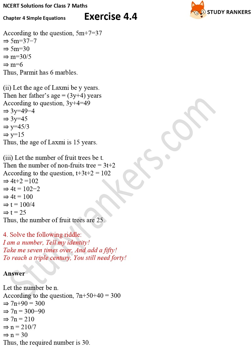 NCERT Solutions for Class 7 Maths Ch 4 Simple Equations Exercise 4.4 4