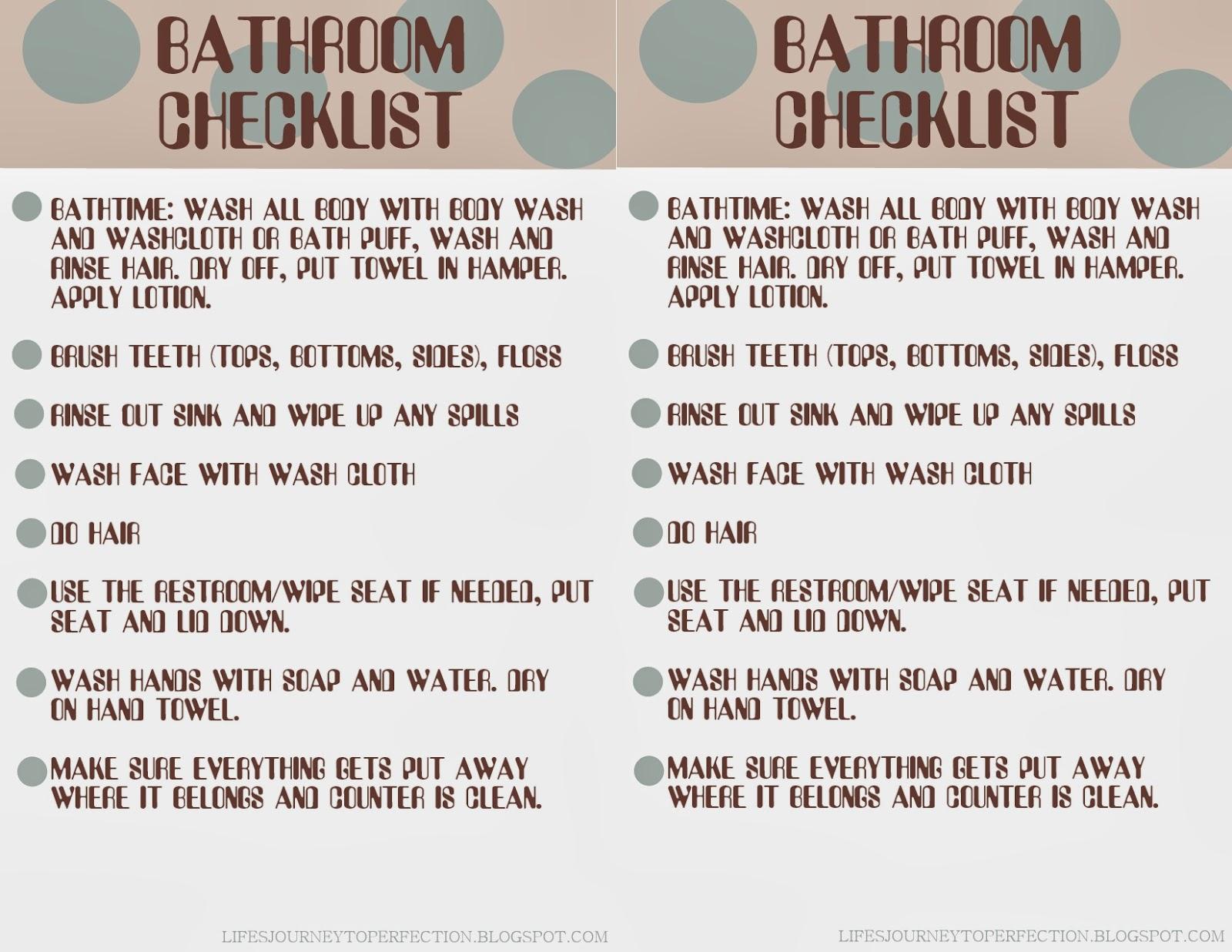 Life S Journey To Perfection Getting Organized Bathroom Hygiene Checklist