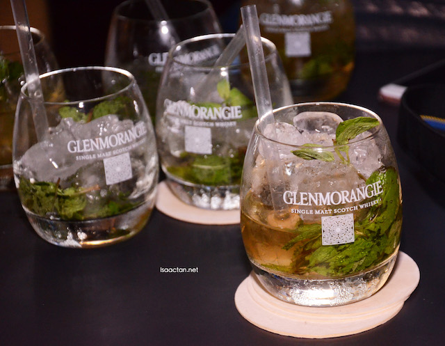 Canapes were served with these Glenmorangie Mint Julep cocktails