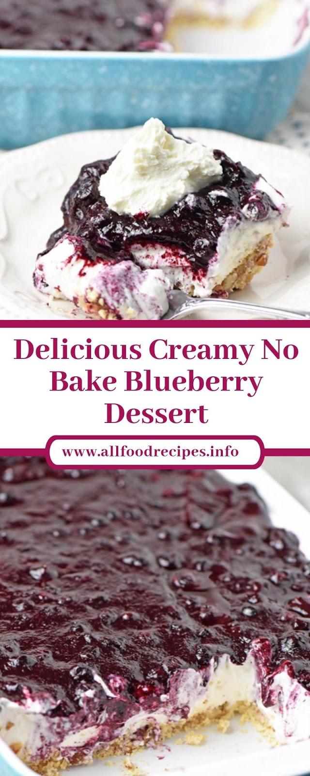 Delicious Creamy No Bake Blueberry Dessert