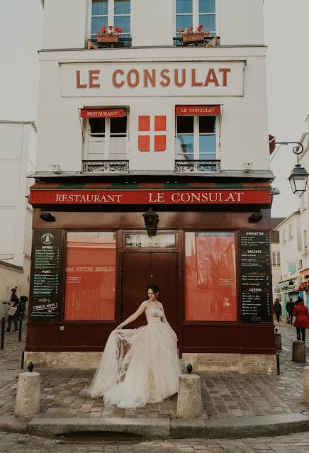 Photoshoot Paris, blush Wedding Gown D'Ors et de Soie