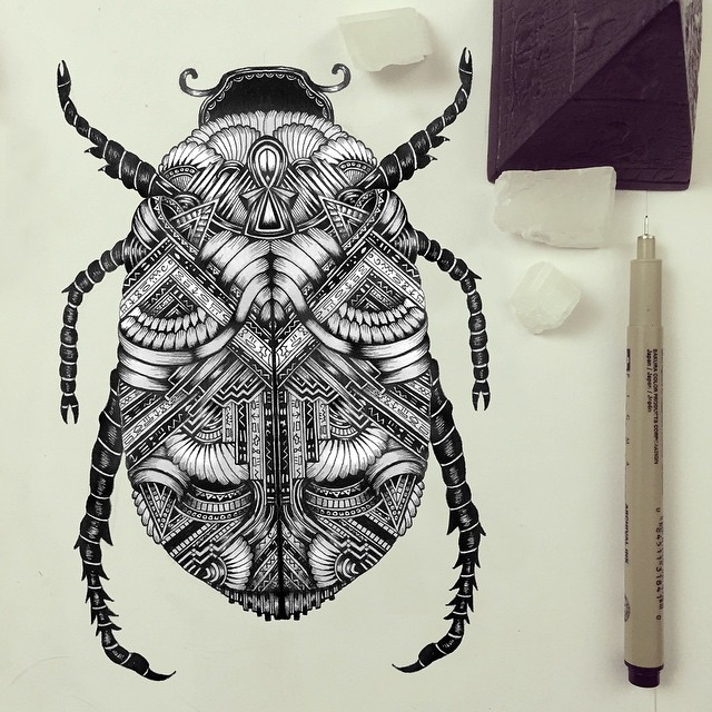 17-Scarab-Beetle-Faye-Halliday-Haathi-Detailed-Drawings-Representing-Complex-Animal-www-designstack-co