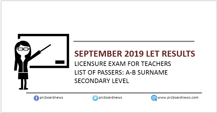 A-B Passers Secondary: September 2019 LET Result