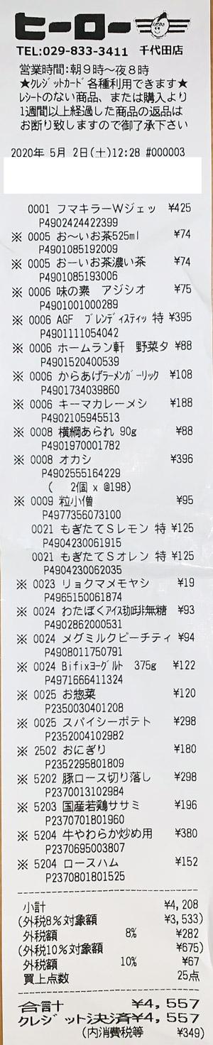 ヒーロー 千代田店 2020/5/2 のレシート
