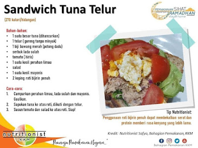 menu berbuka puasa dan sahur sandwich tuna telur