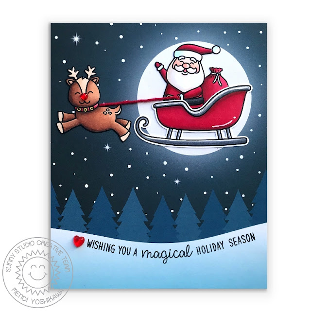Sunny Studio Stamps: Santa in Sleigh with Rudolph Reindeer with Glowing Moon Holiday Christmas Card (using Gleeful Reindeer & Santa Claus Lane Stamps & Very Merry 6x6 Paper)