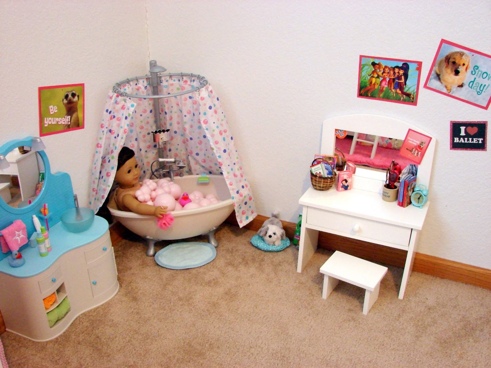 american girl doll play our doll play area the bathroom. Black Bedroom Furniture Sets. Home Design Ideas