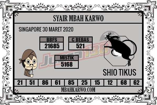 Prediksi Togel Singapura Senin 30 Maret 2020 - Syair Mbah Karwo SGP