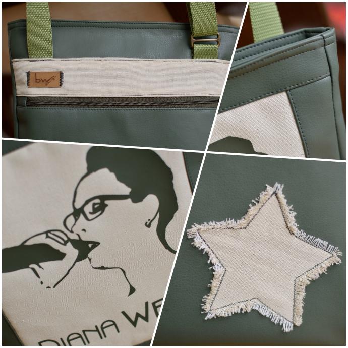 Übersicht über die Details der Tasche: Flex-Plot, Reißverschlussstreifen, applizierter Stern und Patchwork-Rahmen