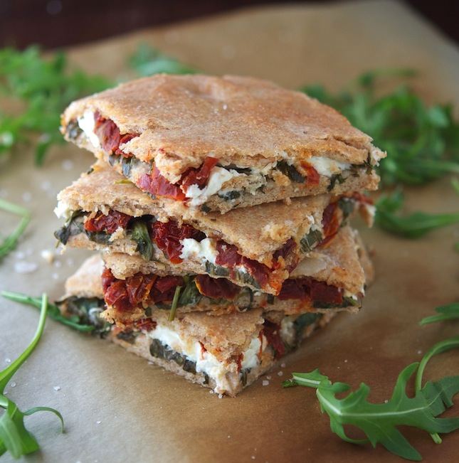 Stuffed Whole Wheat Focaccia with Arugula, Feta and Sun Dried Tomatoes