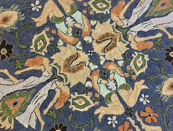fringed paper oriental rug with blue background surrounding female figures