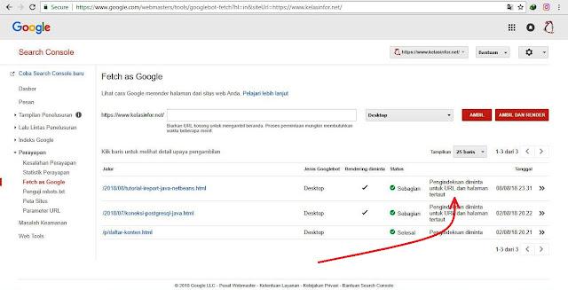 Kelas Informatika - Status Submit URL Fetch as Google