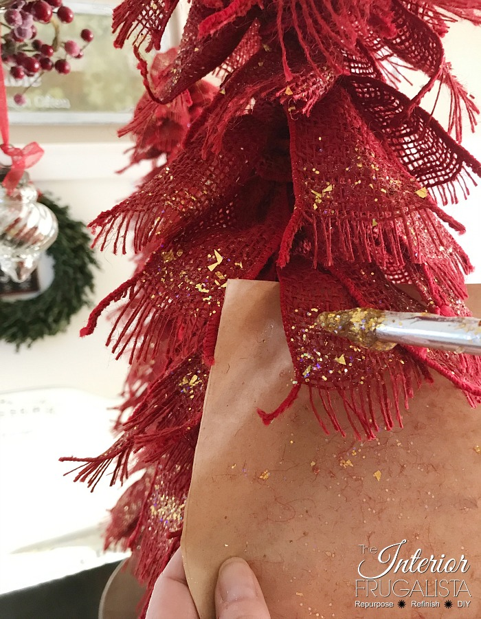Red Burlap Ribbon Christmas Tree Glitter Paint