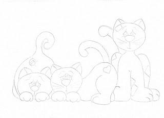 """""""risco de tres gatinhos para pintar"""""""