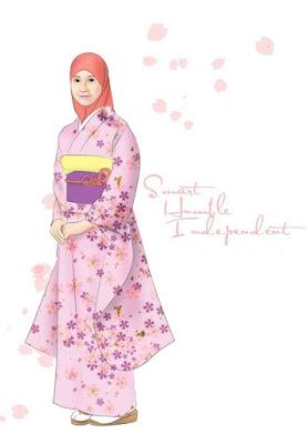 gambar kartun muslimah memakai jilbab merah