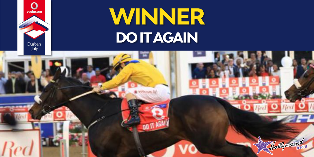 Do It Again - Winning the Vodacom Durban July 2018 - Anton Marcus - Horse passing the post