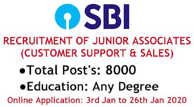 SBI Recruitment 2020 JUNIOR ASSOCIATE'S 8000 Vacancies Apply Online