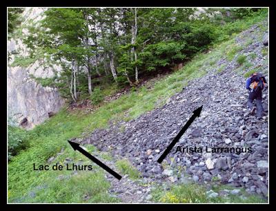 Lugar donde abandonamos el camino al lac de Lhurs y vamos hacia la arista Larrangus