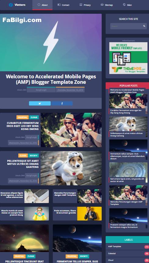 Blogger AMP Uyumlu Süper Hızlı Haber Sitesi Teması İndir 2020 - Vletters Free