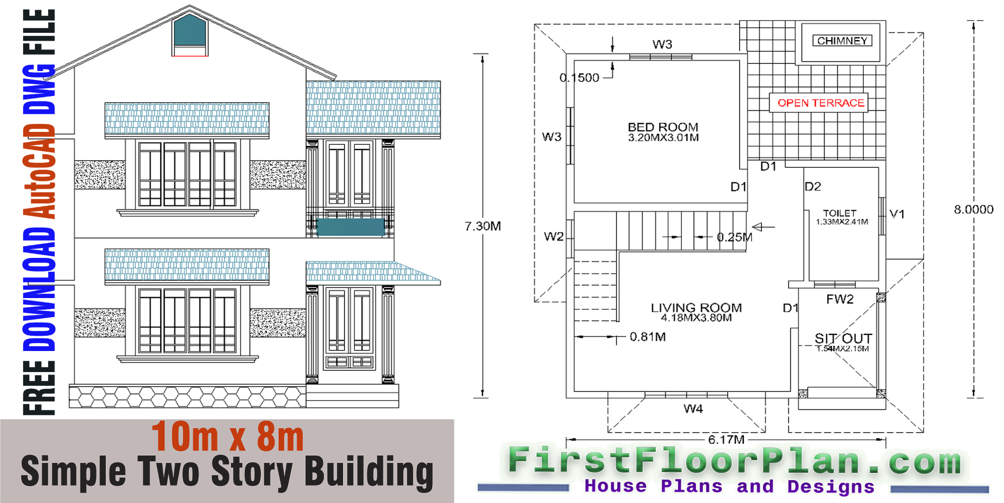 Simple Two Story Building Plans and Designs | 550 Sq Ft