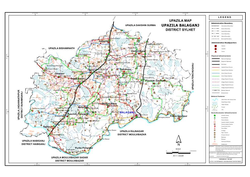 Balaganj Upazila Map Sylhet District Bangladesh