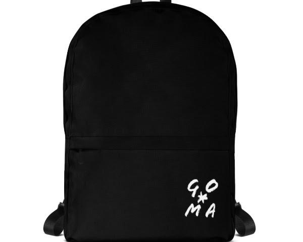 GOMAGEAR GO*MA INITIALS BLACK BACKPACK