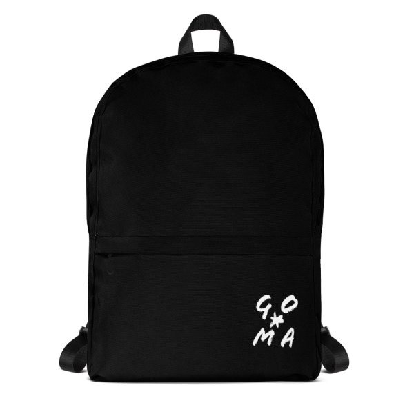 GOMAGEAR GO*MA INITIALS BLACK BACKPACK
