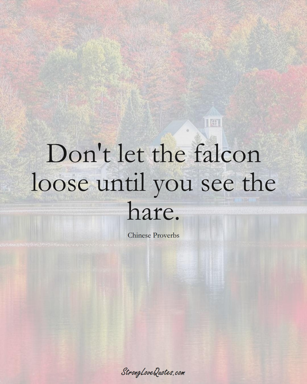 Don't let the falcon loose until you see the hare. (Chinese Sayings);  #AsianSayings