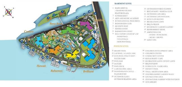 Mặt bằng tổng thể và phân bổ tiện ích dự án Đảo Kim Cương quận 2 - Diamond Island.