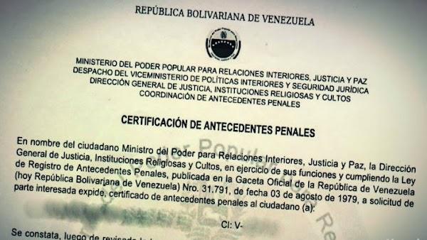 ¿Cómo tramitar los antecedentes penales de Venezuela?