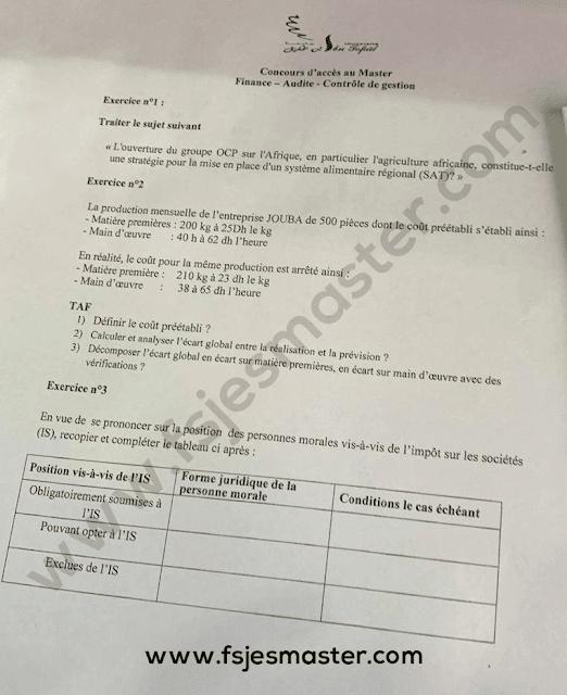 Exemple de Concours Master Finances Audit et Contrôle de Gestion (FACG) 2019-2020 - ENCG Kénitra