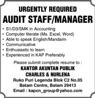 Lowongan Kerja Audit Staff Manager (April 2021)