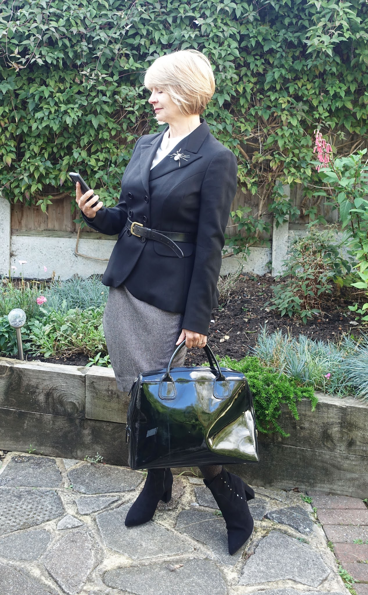 Office chic for Gail Hanlon from Is This Mutton with black and cream