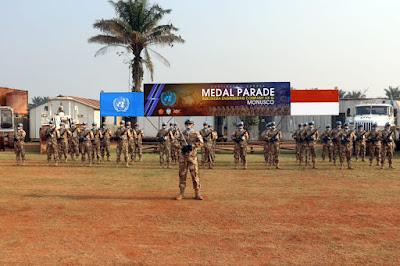 Satgas Kompi Zeni Konga XX-Q/MONUSCO Terima Penghargaan PBB