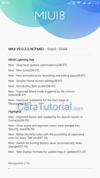 download update MIUI 9