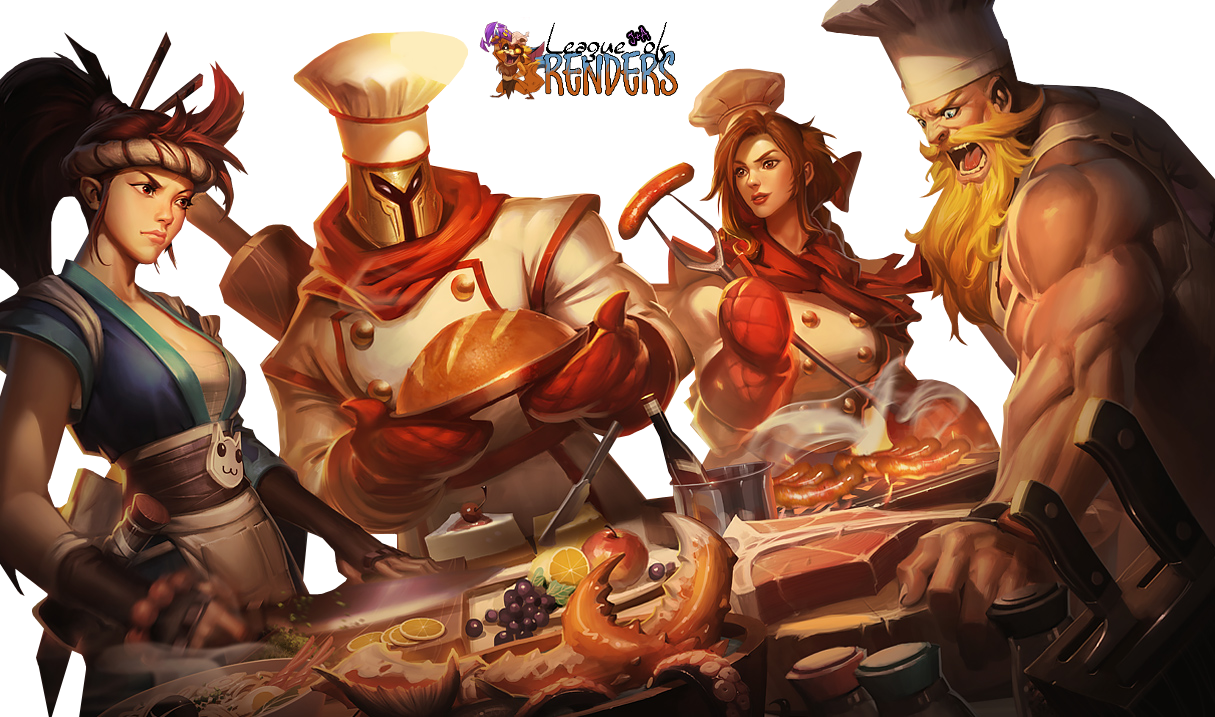 Sashimi Akali, Barbecue Leona, Baker Pantheon, and Butcher Olaf