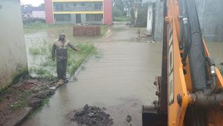 जोरदार बारिश से नगर पालिका क्षेत्र का बगदून तालाब हुआ ओवरफ्लो