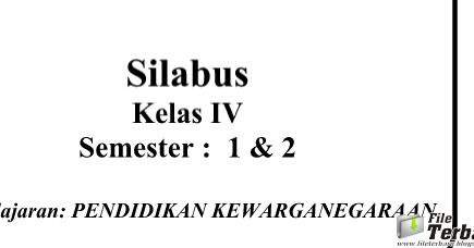 Download Silabus Kurikulum 2013 PKn Kelas 4 SD / MI