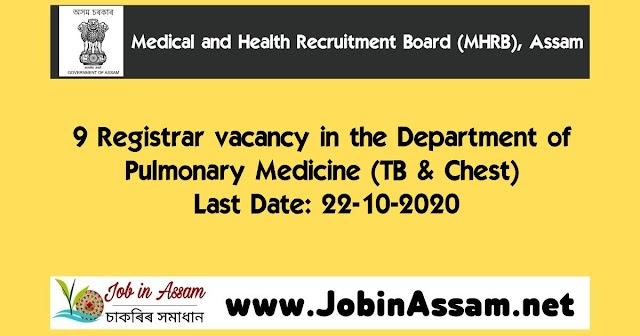 MHRB, Assam Recruitment 2020 : Apply For 9 Registrar Vacancy. Last Date: 22-10-2020