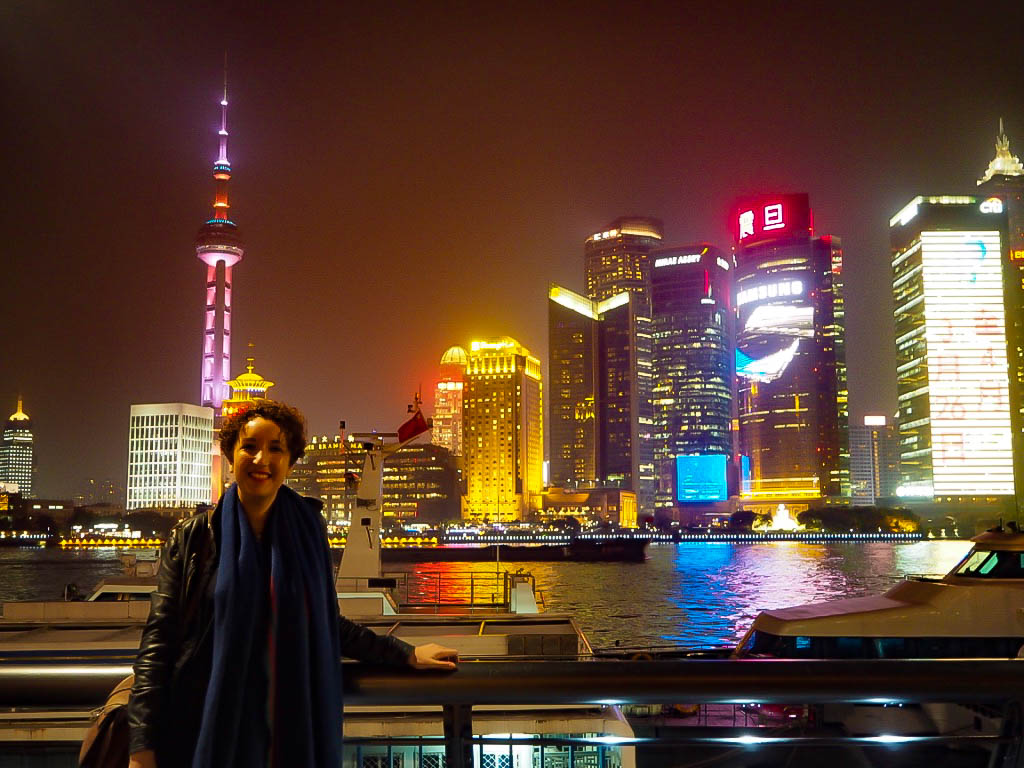 Travel blogger at The Bund, Shanghai