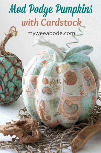 Coastal Sea Life Pumpkin Decoupage Idea