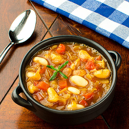 Caramelized Onion, White Bean, and Tomato Soup