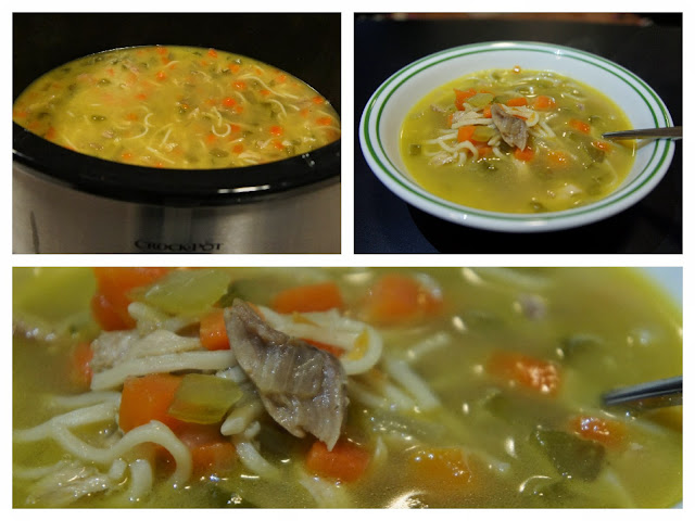 Just Homemade: Simple Roasted Chicken Noodle Soup in Crock Pot