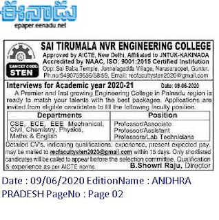 STEN Assistant professors Jobs in Sai Tirumala NVR Engineering College 2020 Recruitment Walk-in interview, Guntur