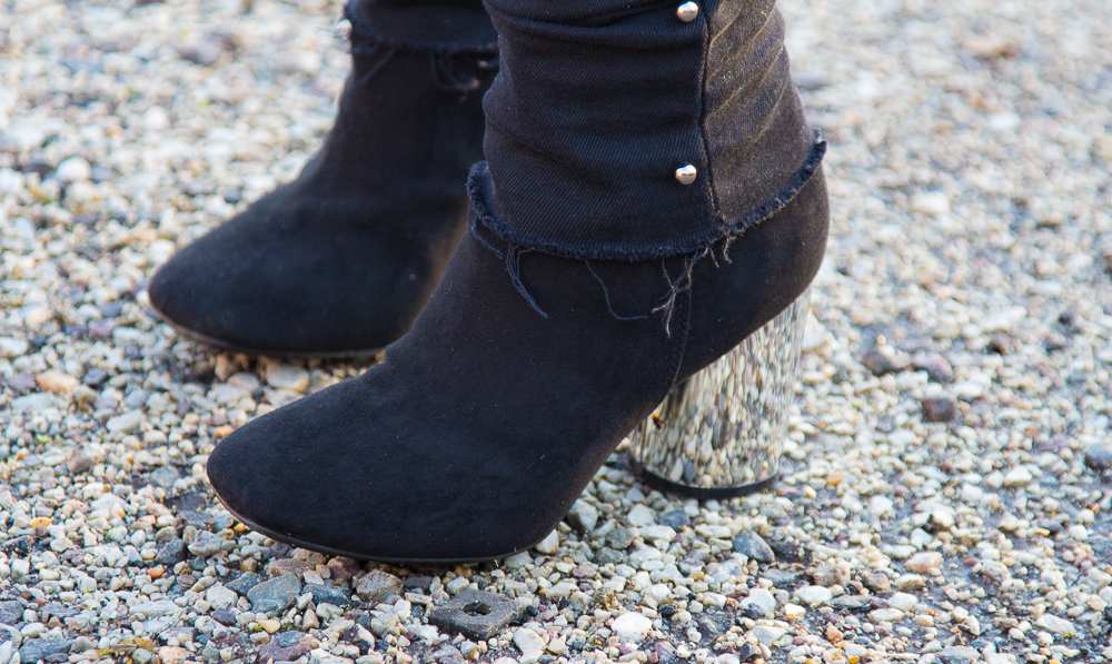 bottines - talon - argente - noir