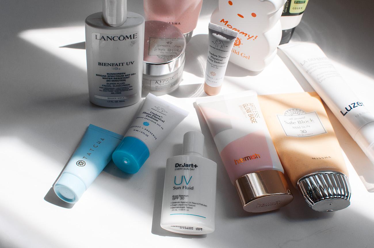 dry skin sunscreens, tatcha sunscreen dry skin, heimish artless glow base sunscreen dry skin