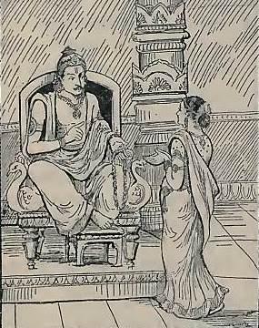 राजा अश्वपति अपनी बेटी सावित्री को अपने लिए एक पति का चयन करने के लिए कहते हैं। (सौजन्य: गीता प्रेस द्वारा हिंदी में महाभारत)