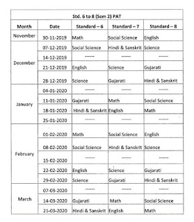UNIT TEST PAPERS TIME TABLE