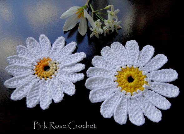 Pink Rose Crochet Mais Margaridas Centrinho Daisy