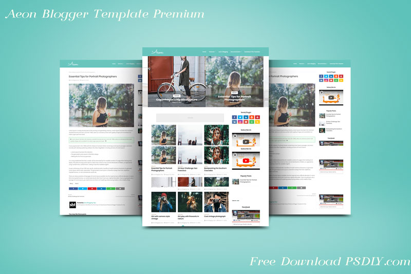 Aeon Responsive Modern Blogger Template Premium Free
